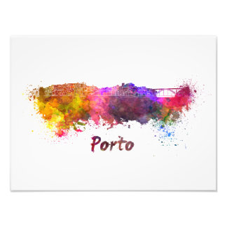 Porto skyline in watercolor photo print