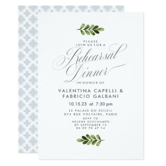 Portofino Blue and Cream Trellis Rehearsal Dinner Card