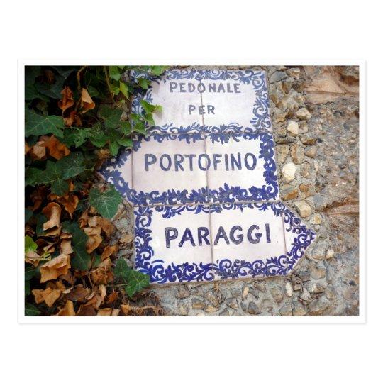 portofino paraggi sign postcard