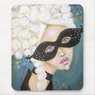 Portrait Artistic Marie Antionette French Mask Fun Mouse Pad