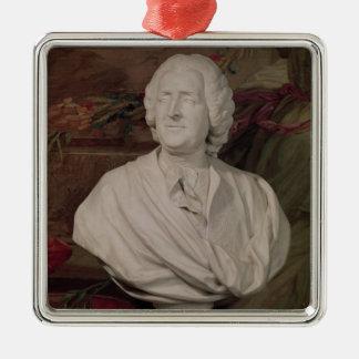Portrait bust of Jacques-Ange Gabriel Silver-Colored Square Ornament