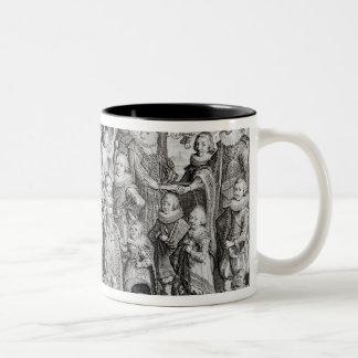 Portrait de famille de James I de l'Angleterre Mug Bicolore