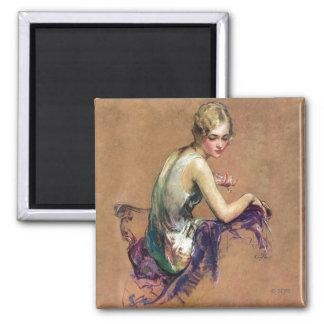 Portrait en pastel magnet carré