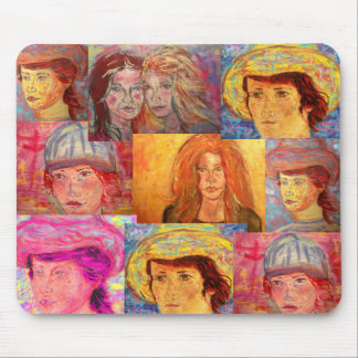 portrait girl collage pop art mousepads