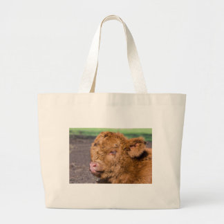 Portrait head newborn scottish highlander calf large tote bag