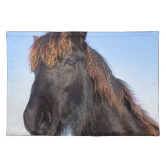 Portrait head of black Frisian horse Placemat