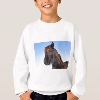Portrait head of black Frisian horse Sweatshirt