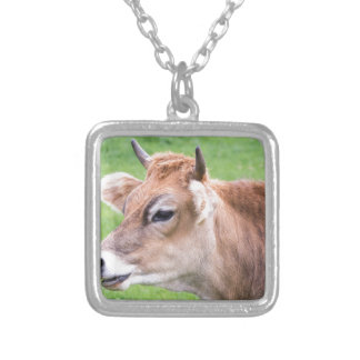 Portrait head of horned brown cow silver plated necklace