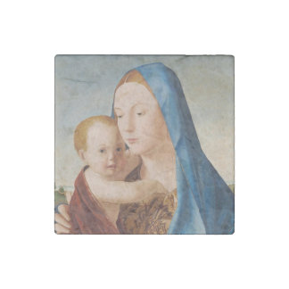 Portrait Mary and Baby Jesus Stone Magnets