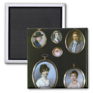 Portrait miniatures, from LtoR and TtoB: Sir Thoma Square Magnet