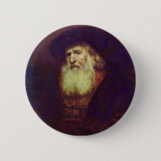 Portrait Of A Bearded Old Man By Rembrandt 2 Inch Round Button