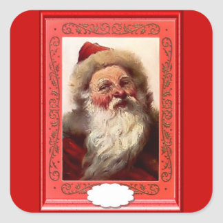 Portrait of a bearded Santa Square Sticker