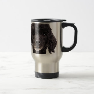 Portrait of a black poodle travel mug