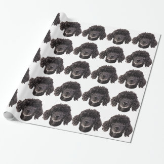 Portrait of a black poodle wrapping paper