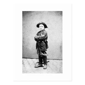 Portrait of a boy soldier c. 1860-1865. Civil War Postcard
