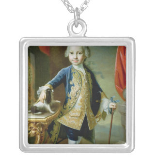 Portrait of a Boy with Pet Spaniel, 18th century Silver Plated Necklace