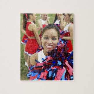 Portrait of a Cheerleader in Front of a Group of Jigsaw Puzzle