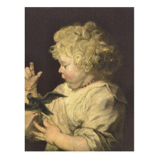 Portrait of a child with bird by Antoon van Dyck Postcard