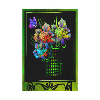Portrait of a City in Bloom on a Faux Easel Canvas Print