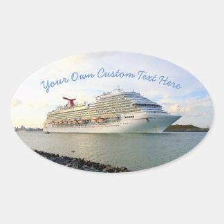 Portrait of a Cruise Ship Custom Oval Sticker