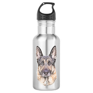 Portrait of a German Shepherd Colored Sketched Dog 532 Ml Water Bottle