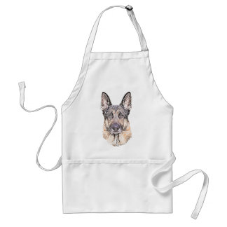 Portrait of a German Shepherd Dog Colored Sketch Standard Apron