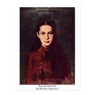Portrait Of A Girl By Nicolae Grigorescu Postcard