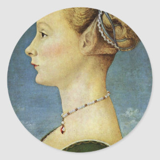 Portrait Of A Girl By Pollaiuolo Piero Classic Round Sticker