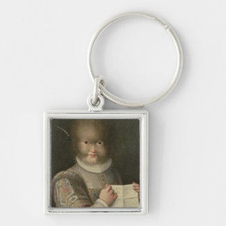 Portrait of a Girl Covered in Hair Key Chain
