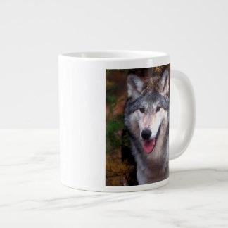 Portrait of a gray wolf giant coffee mug