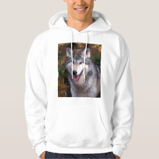 Portrait of a gray wolf hoodie