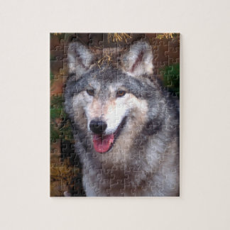 Portrait of a gray wolf jigsaw puzzle