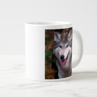 Portrait of a gray wolf large coffee mug