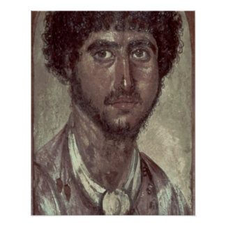 Portrait of a Greek, from Fayum, Romano-Egyptian, Poster