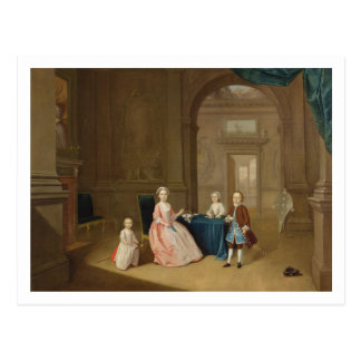 Portrait of a Group of Children, c.1743 (oil on ca Postcard