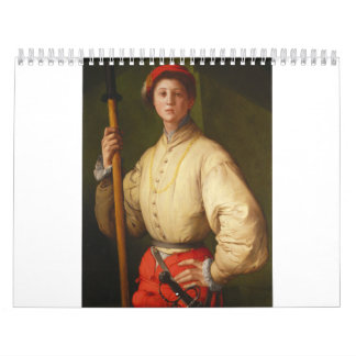 Portrait of a Halberdier by Pontormo Wall Calendars
