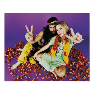 Portrait of a Hippy Couple Sitting Cross-legged Poster