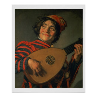 Portrait of a Jester with a Lute (oil on canvas) Poster
