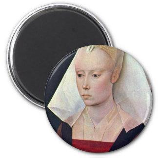 Portrait Of A Lady By Weyden Rogier Van Der 2 Inch Round Magnet