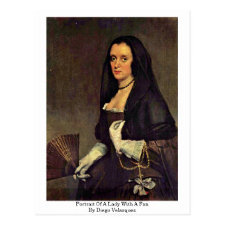 Portrait Of A Lady With A Fan By Diego Velazquez Postcard