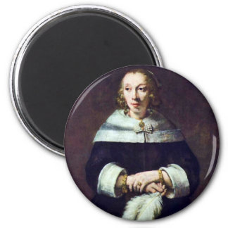 Portrait Of A Lady With An Ostrich-Feather Fan [1] 2 Inch Round Magnet