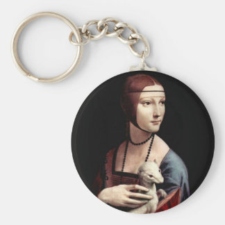 Portrait of a Lady with Ermine (a ferret) Basic Round Button Keychain