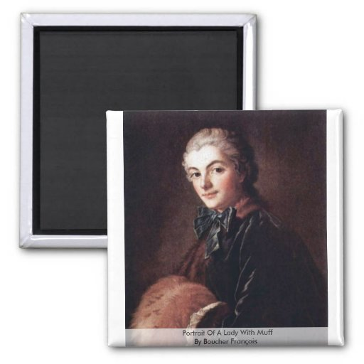 Portrait Of A Lady With Muff By Boucher François Refrigerator Magnet