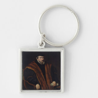 Portrait of a Man, 1564 Silver-Colored Square Keychain