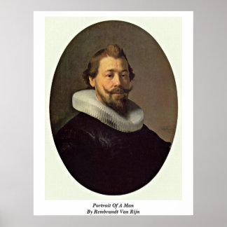 Portrait Of A Man By Rembrandt Van Rijn Posters