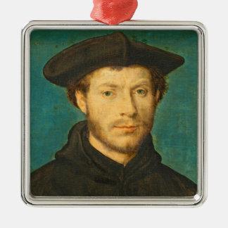 Portrait of a Man, c. 1536- 40 (oil on walnut) Silver-Colored Square Ornament