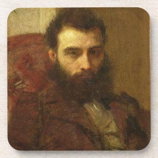 Portrait of a Man (oil on panel) Beverage Coaster