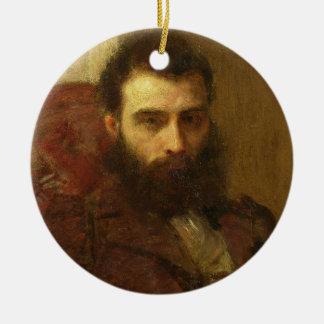 Portrait of a Man (oil on panel) Round Ceramic Ornament