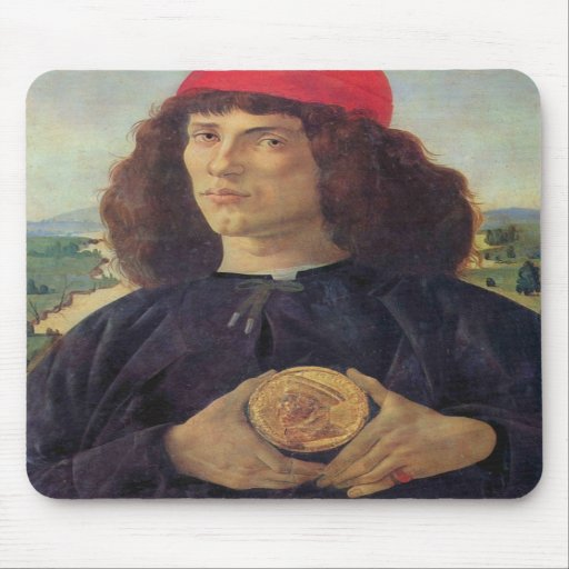 Portrait of a man with a medal of Cosimo the Elder Mouse Pads