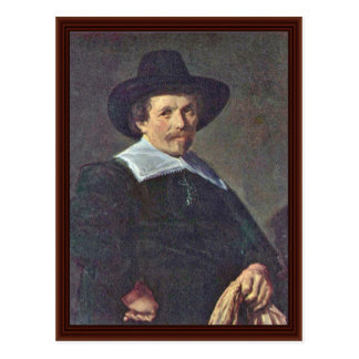 Portrait Of A Man With Gloves By Hals Frans Postcard